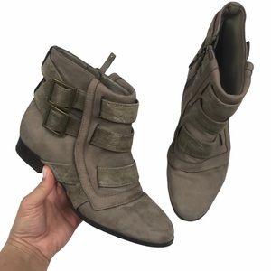 Zara Suede Brown Ankle Booties 6.5